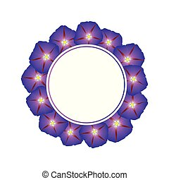 Purple Morning Glory Flower Banner Wreath. Vector...