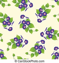 Purple Morning Glory on Beige Ivory Background. Vector...