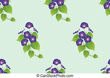 Purple Morning Glory Seamless on Green Mint Background....