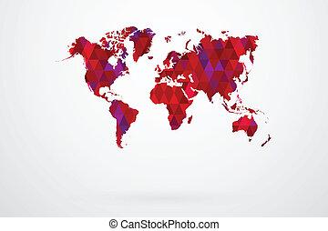 Purple Mosaic Tiles World Map