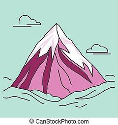 Purple mountain with clods. Snowy peak.