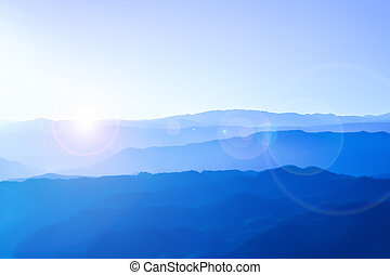 Purple mountains with flare