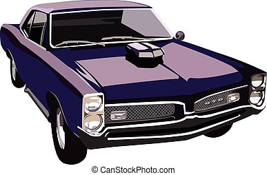 Vector graphic illustration design of a old classic muscle car.