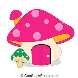 mushroom - purple mushroon and green mushroom on the white...