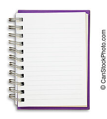 Purple Note Book - Purple cover of open white note book