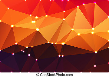Purple orange yellow red brown geometric background with lights