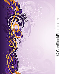 purple ornament with gold ribbons