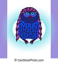 purple owl card, vektor,