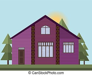 Purple painted Wooden house facade in the forrest. Vector illustration sunset background
