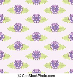 Purple Pansy Flowers Vector Repeat Pattern