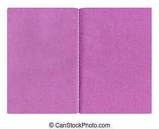 Purple paper notebook isolated on the white background