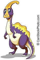 Purple parasaurolophus standing on two feet