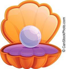 Purple pearl shell icon, cartoon style