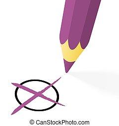 purple pencil with cross