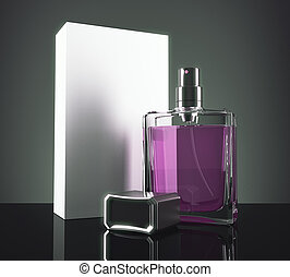 Purple perfume with packaging