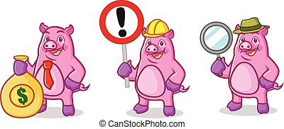 Purple Pig Mascot with sign
