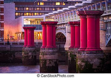 Purple pillars close up