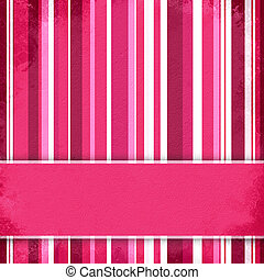 Purple, pink and white striped background with banner, ...