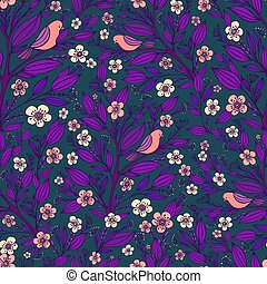 Purple pink birds sit on branches in the forest of flowers seamless pattern, isolated dark blue background