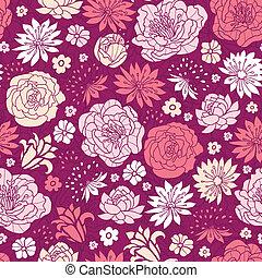 Purple pink flower silhouettes seamless pattern background