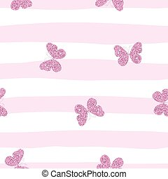 Purple pink glittering butterflies on striped background. Cute seamless pattern for girls.