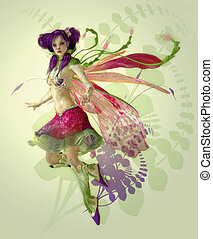 Purple Pixie - a graceful fairy with wings and a cute...