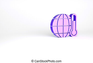 Purple Planet earth melting to global warming icon isolated on white background. Ecological problems and solutions - thermometer. Minimalism concept. 3d illustration 3D render