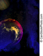 Purple planet in the space