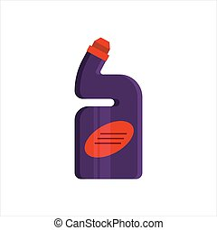 Purple plastic bottle isolated on white background. Cleaning service logo, laundry detergent and disinfectant products, cleaner for toilet, bath, kitchen - flat vector illustration