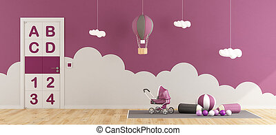 Purple playroom for baby girl