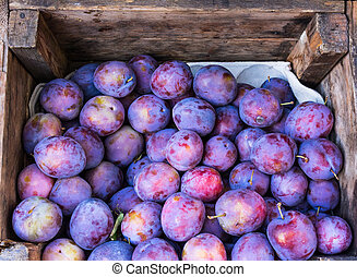 purple plums in wooden box