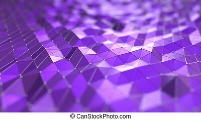 Purple polygonal waves. Loopable motion background