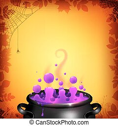 Purple potion in black cauldron on orange background
