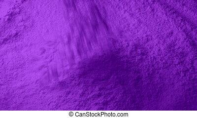 Purple Powder Pours Into Pile - Purple powder pours into...