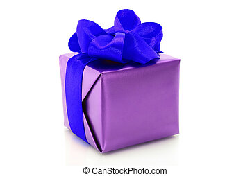 Purple present box with blue bow on a white background