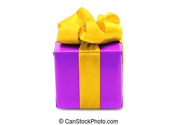 Purple present box with yellow bow on a white background