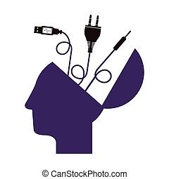 purple profile head human with different connectors
