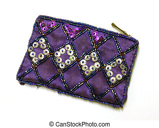 Purple purse, with sequins.
