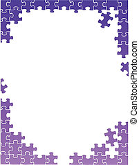 purple puzzle pieces border template illustration