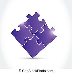 purple puzzle pieces illustration design