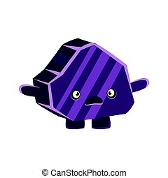 Purple puzzled rock element. Cartoon emotions character vector Illustration