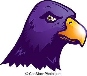 An illustration of a purple raven head.