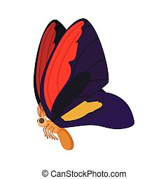 Purple-red butterfly icon, cartoon style