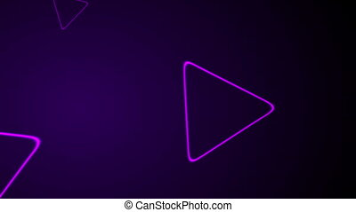 Purple retro neon shiny triangles motion background.