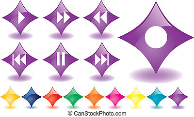 Purple rhombuses as music buttons