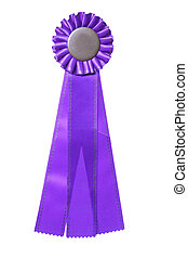 Purple ribbon award isolated on white