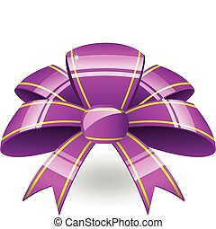 Purple ribbon bow - Big purple bow with tellow stripes and...
