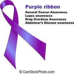Purple ribbon. General Cancer Awareness. Lupus awareness....