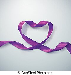 Purple Ribbon Heart. Vector Illustration Of Looping Ribbon....