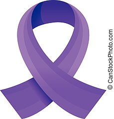 Purple ribbon icon, cartoon style